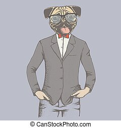 Pug dog vector illustration concept. Pug dog in human suit