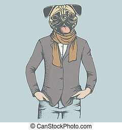 Pug dog vector illustration. Pug dog in human suit. Adorable...