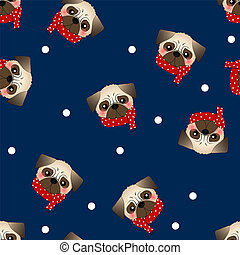 Pug Dog with Red Scarf on Navy Blue Background