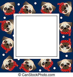 Pug Dog with Red Scarf on Navy Blue Banner Card