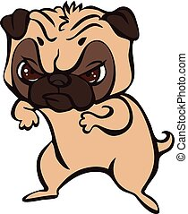 Pug fight icon, cartoon style - Pug fight icon. Cartoon of ...