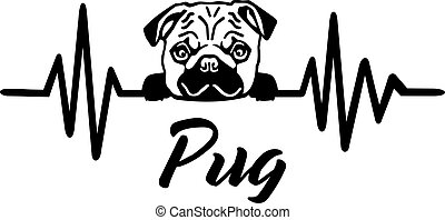 Pug frequency silhouette - Heartbeat frequency with Pug dog...