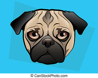 Pug Illustration - Pug Dog Face on a Blue Background