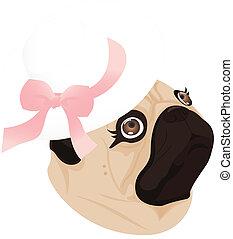 pug lady dog ribbon