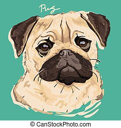 Pug Painting Poster - A vector illustration of pug painting...