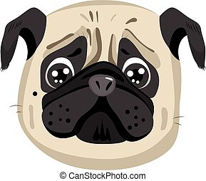 Pug Portrait Avatar - Cute sad little purebreed pug portrait...