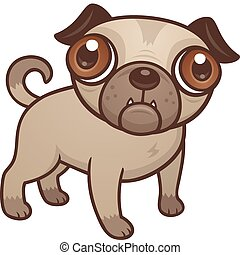 Vector cartoon illustration of a cute Pug puppy dog with really big brown eyes.