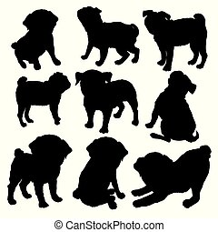 b1b45f3a416f Pug purebred dog sitting in side view with shadow - vector silhouette  isolated