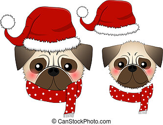 Pug Santa Claus Dog with Red Scarf.