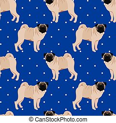 Pug seamless pattern vector