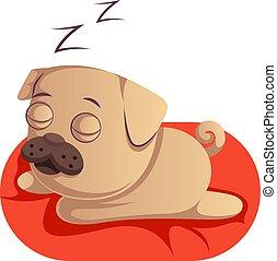 Pug sleeping, illustration, vector on white background.