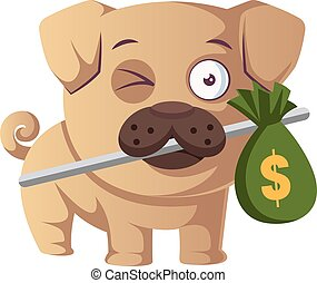 Pug with bag of money, illustration, vector on white background.