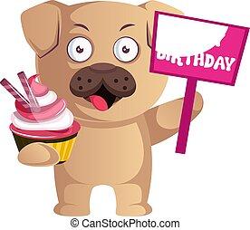 Pug with cake, illustration, vector on white background.