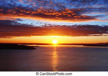 puget rybí měchýř, západ slunce