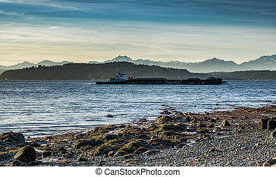 Puget Sound Barge 3 - A barge moves across the Puget Sound ...