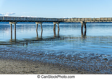 Puget Sound Pier 2 - A view of a pier on the Puget Sound in ...
