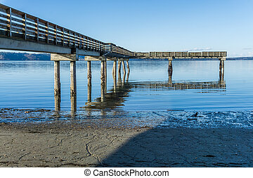 Puget Sound Pier 4 - A view of a pier on the Puget Sound in ...