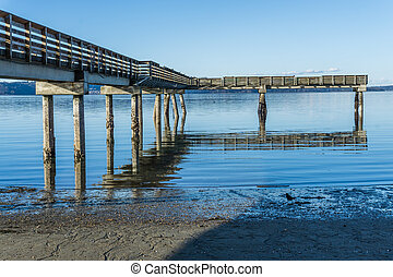 Puget Sound Pier 5 - A view of a pier on the Puget Sound in ...