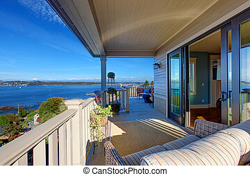 Puget sound view from house walkout deck, Tacoma, WA - House...