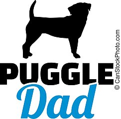 Puggle dad in blue with silhouette