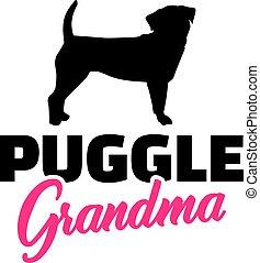 Puggle Grandma with silhouette
