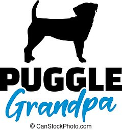 Puggle Grandpa silhouette in black