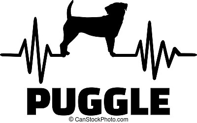 Puggle heartbeat frequence with name and silhouette