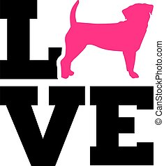 Puggle love with pink silhouette