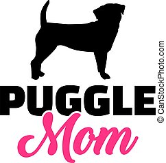 Puggle mom in pink with silhouette