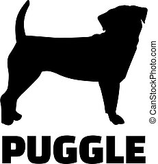 Puggle silhouette in black with name