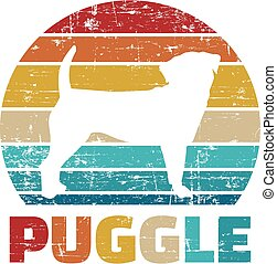 Puggle silhouette vintage and retro