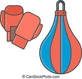 pugilato, illustrazione, vettore, guanti, paio, rosso