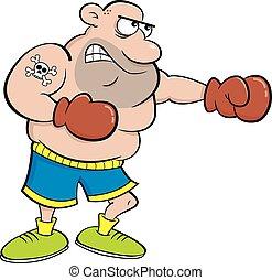 pugile, cartone animato, punching.