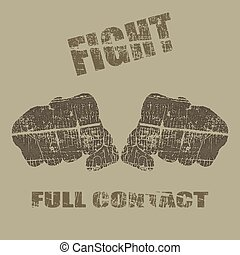 Pugilism - Vector fists, fists vector illustration with text