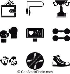 Pugilism icons set, simple style - Pugilism icons set....