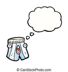pugilista, caricatura, shorts