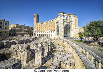 puglia, 古代, イタリア, 円形劇場, lecce