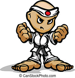 pugni, arti, combattente, immagine, faccia, karate, marziale, vettore, determinato, cartone animato, mascotte