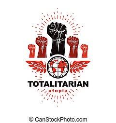pugni, idea., illustrazione, persone, anticonformista, potere, vettore, concettuale, alato, arrabbiato, autorità, emblem., stretto
