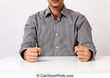 pugni, immagine, due, closeup, tavola, bianco