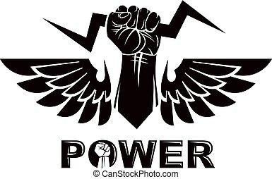 pugni, potere, illustrazione, alato, arrabbiato, persone, stretto, emblem., idea., vettore, anticonformista, concettuale, autorità