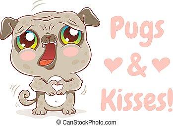 pugs, 以及, kisses.