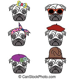 Pugs set of icons