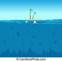 puin, zakken, concept, bescherming, milieu, eco, flessen, plastic, water, vector, ocean., vervuiling, seabed.