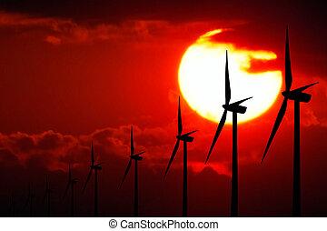 puissance, à, coucher soleil