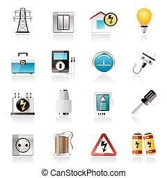 puissance, énergie, et, électricité, icônes