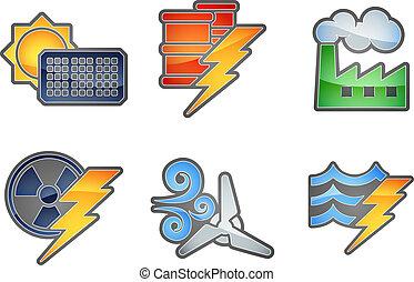 puissance énergie, icône, ensemble