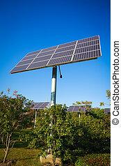 puissance, énergie, parc, système, vert, solaire