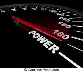 puissance, -, compteur vitesse, à, les, max