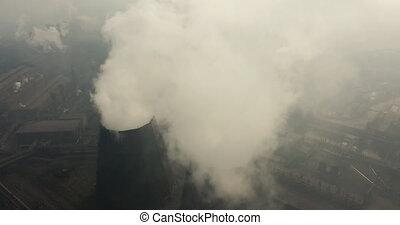 puissance, concept., global, plant., pollution, industriel, ...